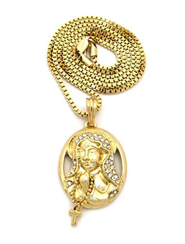 "Pave Jesus Ring Pendant 2mm 24"" Box Chain Necklace in Gold-Tone"