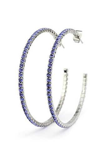 Blue Swarovski Elements 45mm Flex Hoop Earrings in Silver-Tone MADE IN KOREA IKE1001RB