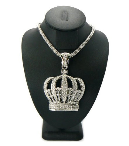 "Silver Tone Iced Out Royal Crown Pendant w/ 4mm 36"" Franco Chain MP435R"