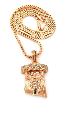 "Pave Jesus Face Micro Pendant w/ 24"" Box Chain in Rose Gold Tone MMP5RGBX"