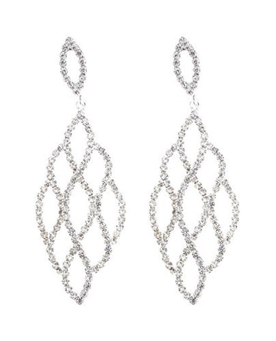 Curvy Rhinestone Pave Drop Earrings in Silver-Tone