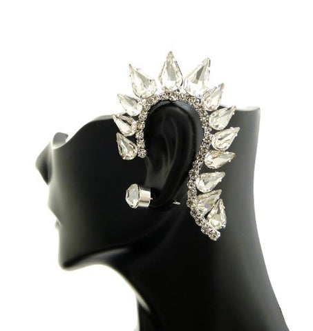 Classy Teardrop Rhinestone Ear Cuff with Stud Earring in Silver-Tone ECM684RCL