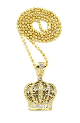 "Iced Out Gold Tone Royal Crown Pendant 3mm 27"" Ball Chain Necklace BXZ14G"