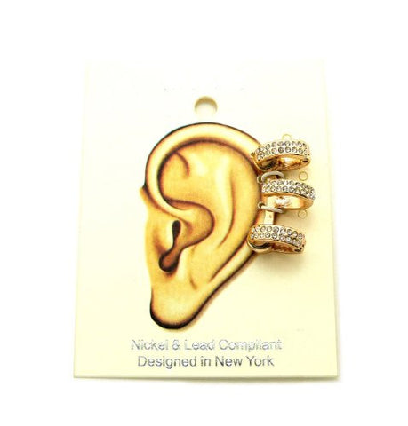 Pave 3 Ring Magnetic Ear Cuff in Gold-Tone