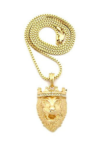 "Stone Stud Crown King Lion Head Pendant w/ 2mm 24"" Box Chain Necklace in Gold-Tone"