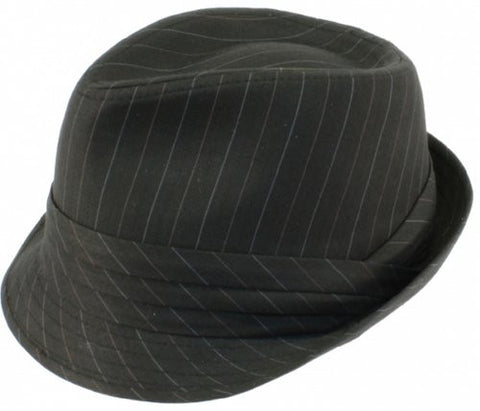 Mens Black Crushable Wool Felt Stripe Fedora Hat F183