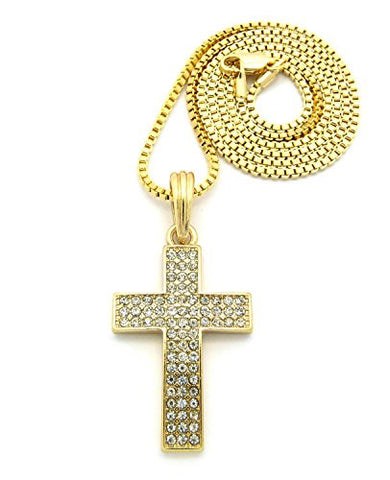 3 Row Rhinestone Cross Pendant Necklace