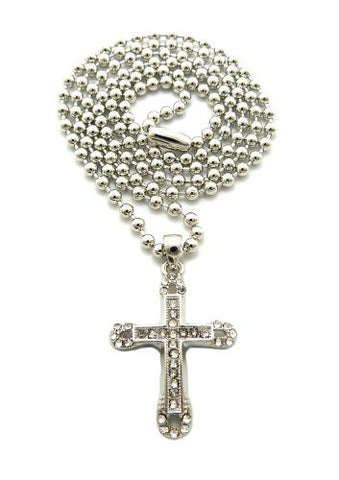 "Single Row Pave Round Edge Cross Micro Pendant 3mm 27"" Ball Chain Necklace in Silver-Tone"