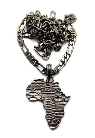 African Tribal Imprint Africa Pendant with Figaro Chain Necklace