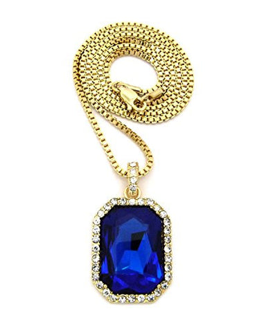 "Hip Hop Rapperz Micro Faux Sapphire Pendant 2mm 30"" Box Chain Necklace in Gold-Tone"