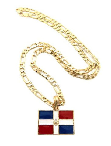 "Dominican Republic Flag Pendant with 5mm 24"" Figaro Chain Necklace - Gold-Tone"