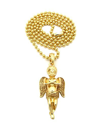 "Glitter Praying Cherub Pendant 3mm 27"" Ball Chain Necklace in Gold/Gold-Tone"