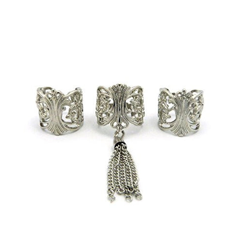 3 Piece Filigree Tassel Fashion Ring Set