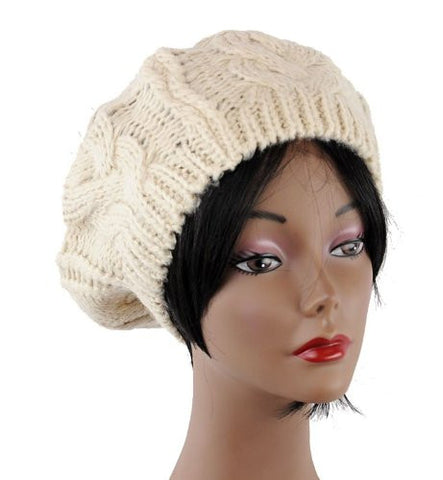 New Puff Ball Charm Knit Beret Hat