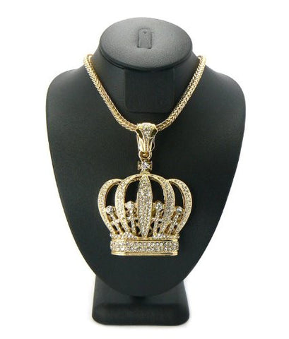 "Gold Tone Iced Out Royal Crown Pendant w/ 4mm 36"" Franco Chain MP435G"