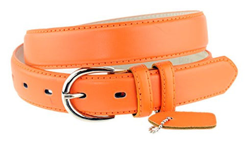 Nyfashion101 Women's Basic Leather Dressy Belt w/ Round Buckle H001-Bright Orange-L