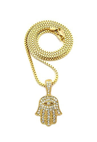 "Rhinestone Studded Hamsa Palm Evil Eye Pendant 2mm 24"" Box Chain Necklace in Gold-Tone"