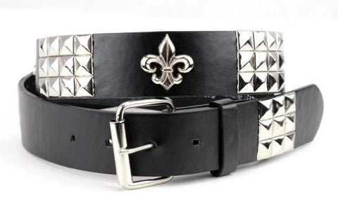 Women's Faux Studded Leather Fashion Belt w/ Fluer de Lis