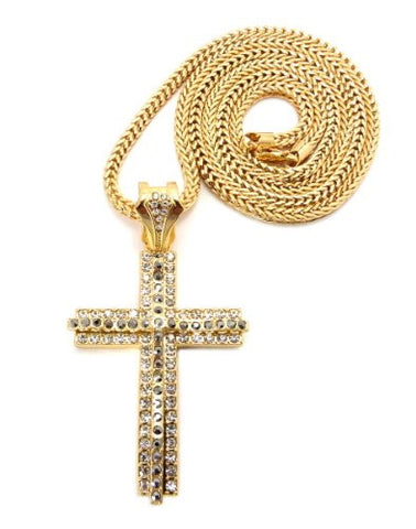 "Iced Out Layered Gold/Hematite Tone Cross Pendant w/ 4mm 36"" Franco Chain"