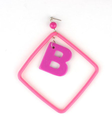 Initial Letter B Dangling Charm Pink Acrylic Drop Earrings