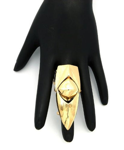 Gold Tone Folding Charm Finger Ring w/ Stretch Base JR1016GD