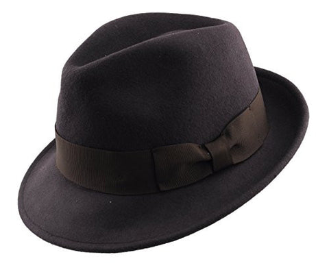 Mens Soft & Crushable Wool Felt Fedora Hat Brown HE02