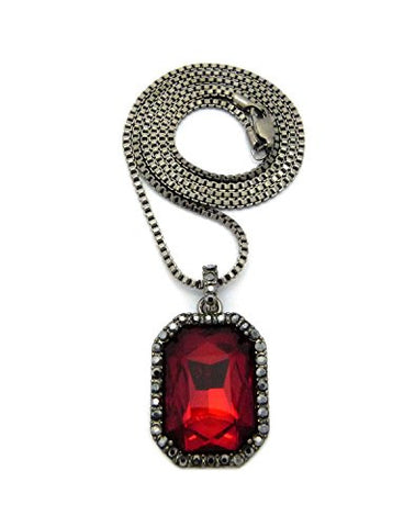 Micro faux ruby stone pendant 2mm 24 box chain necklace in hematite micro faux ruby stone pendant 2mm 24 box chain necklace in hematite tone aloadofball Images