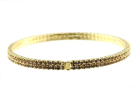 Elegant 2 Row Fancy Yellow Swarovski Elements Flex Bracelet - Gold-Tone MADE IN KOREA IKB1001GB