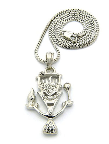 "The Amazing Jeckel Brothers Clown Hip Hop Pendant w/ 24"" Box Chain Necklace - Silver-Tone XSP238RBX"