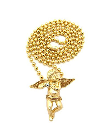 "Glitter Solitaire Angel Pendant 3mm 27"" Ball Chain Necklace in Gold/Gold-Tone"
