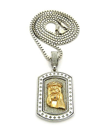 "Jesus Two-Tone Dog Tag Pendant 2.5mm 24"" Box Chain Necklace"