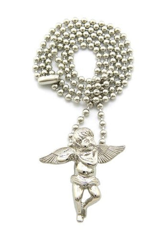 "Very Rare Trendy Mini Micro Angel Pendant w/3mm 27"" Ball Chain Necklace Silver Color MMP1R"