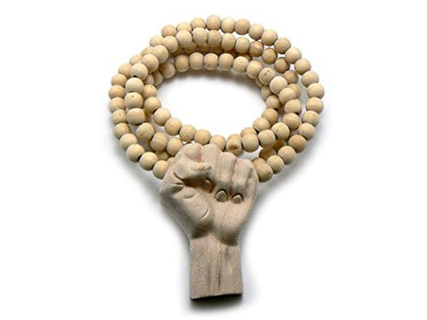 "3D Raised Fist Wood Pendant 36"" Wooden Bead Chain Necklace"