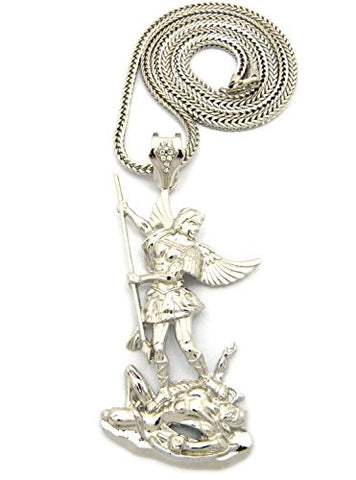 "The Archangel Michael Pendant 4mm 36"" Franco Chain Necklace in Silver-Tone"