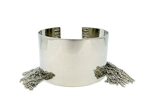 Solid Polished Arm Bangle Cuff Band w/ Chain Tassels in Silver-Tone