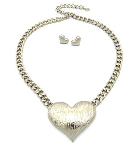 Brushed Heart Pendant Chain Necklace and Earring Set
