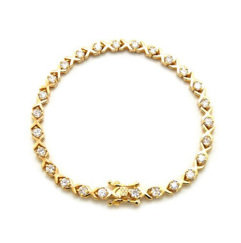 "Heavy Gold Plated Brass 4-Prong Cubic Zirconia 7.35"" Tennis Bracelet"