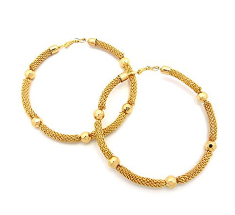 "Ball Charm Tube Mesh Chain Look 3.25"" Diameter Hoop Earrings in Gold-Tone"