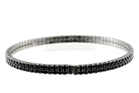 Elegant 2 Row Jet Swarovski Elements Flex Bracelet in Hematite-Tone MADE IN KOREA IKB1001HJ