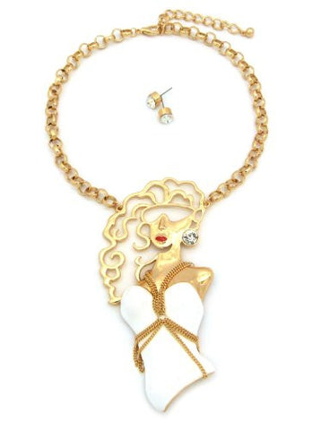 "Glam Girl Pendant 15"" Necklace w/ Earrings in Gold/White Tone JS1020GDWHT"