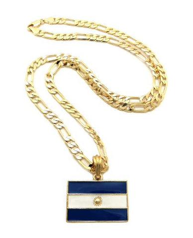 Argentina Flag Pendant Figaro Chain Necklace