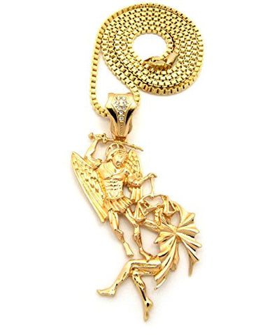 Battle of the Angels St. Michael the Archangel Pendant Box Chain Necklace