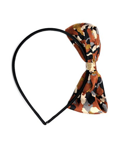 NYfashion101 Fashionable Camoflauge Bow Satin Covered Wire Metal Skinny Headband
