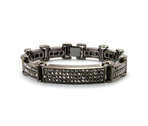 Rhinestone ID Chain Bracelet with Metal Clasp