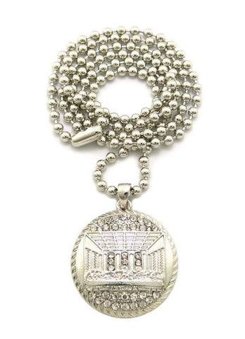 "The Last Supper Silver Tone Pendant 3mm 27"" Ball Chain Necklace MMP13R"
