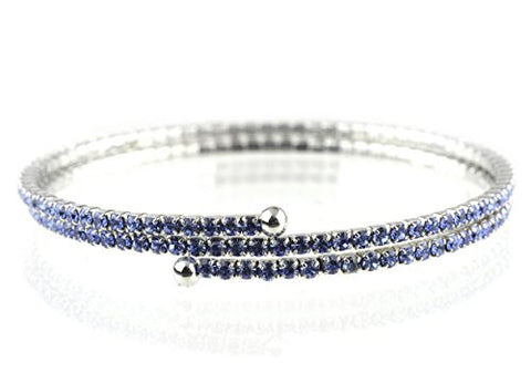 2 Row Blue Swarovski Elements Flex Wrap Bracelet
