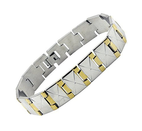 NYfashion101 Men's Fashionable Two-Tone Stainless Steel Bracelet 4031