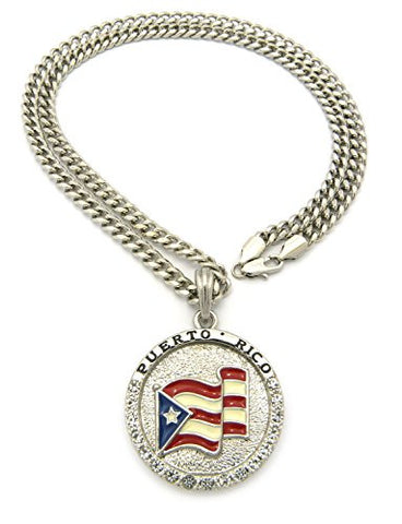 "Flag of Puerto Rico Pride Rhinestone Medal Pendant 24"" Cuban Chain Necklace - Silver-Tone XSP085RCC"