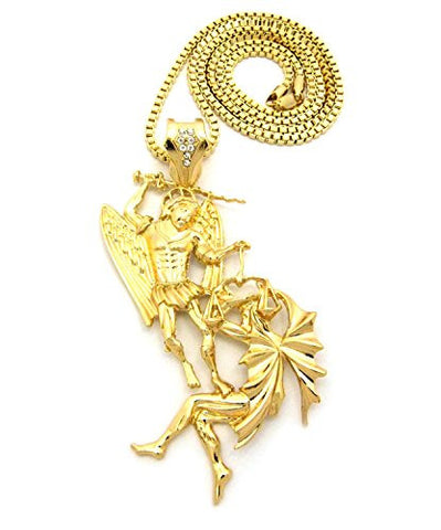 "Battle of the Angels St. Michael the Archangel Pendant 3mm 30"" Box Chain in Gold-Tone"