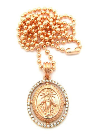 Saint mary halo paved oval micro pendant 27 ball chain necklace in saint mary halo paved oval micro pendant 27 ball chain necklace in rose gold mozeypictures Images